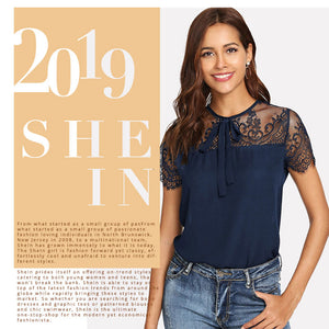 Lace Shoulder Contrast Mesh Top Blouse - SunLify