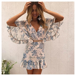 Buy Cheap Sexy Women Dress Print Ruffles Mini Deep V Neck Boutton Batwing Sleeve Casual Dresses Polyester Summer Beach Hollow Dress Online - SunLify