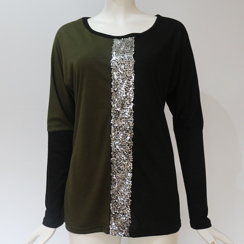 Ladies Tops Off Shoulder Long Sleeve Shirt Sequin Patchwork Tunic - SunLify