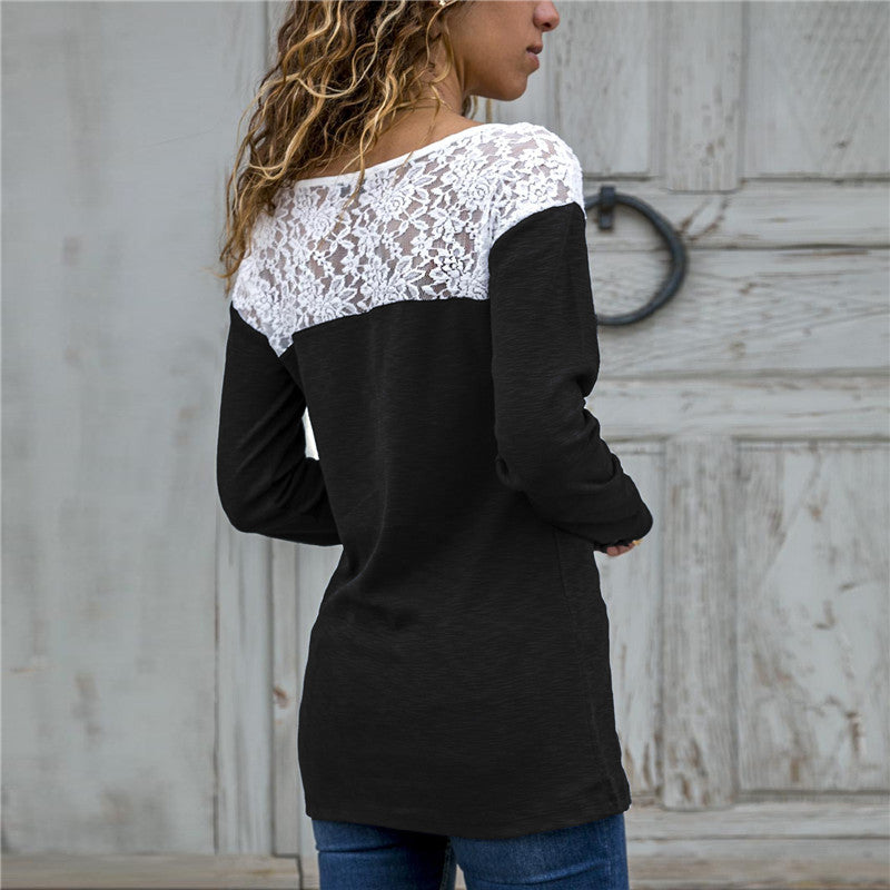 Women Lace Blouse Casual Long Sleeve Tunic O-Neck Patchwork Blouses - SunLify