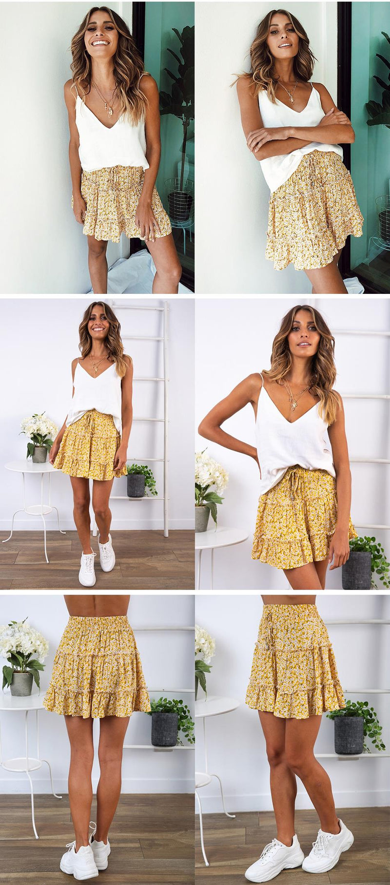 Lossky Skirt Women Floral Print Ruffle Lace-up Pleate Mini Skirt Boho Chi High Waist Short Summer Beach Wooden Ear Skirt Female - SunLify