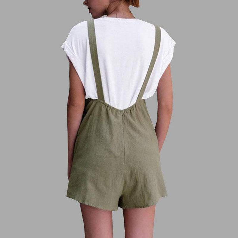 Buy Cheap Jumpsuit for women Linen pockets Rompers Playsuit Shorts Pants Online - SunLify