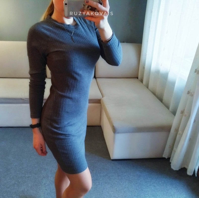Buy Cheap Lossky Women Bodycon Dress Knitted Cotton Autumn Pure Party Dresses Long Sleeve Thin Black Casual Elasticity Online - SunLify