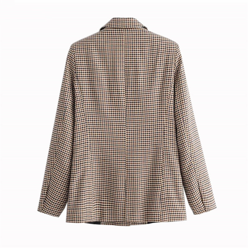 Buy Cheap Fashion Autumn Women Plaid Blazers Work Office Lady Blazer Coat Online - SunLify
