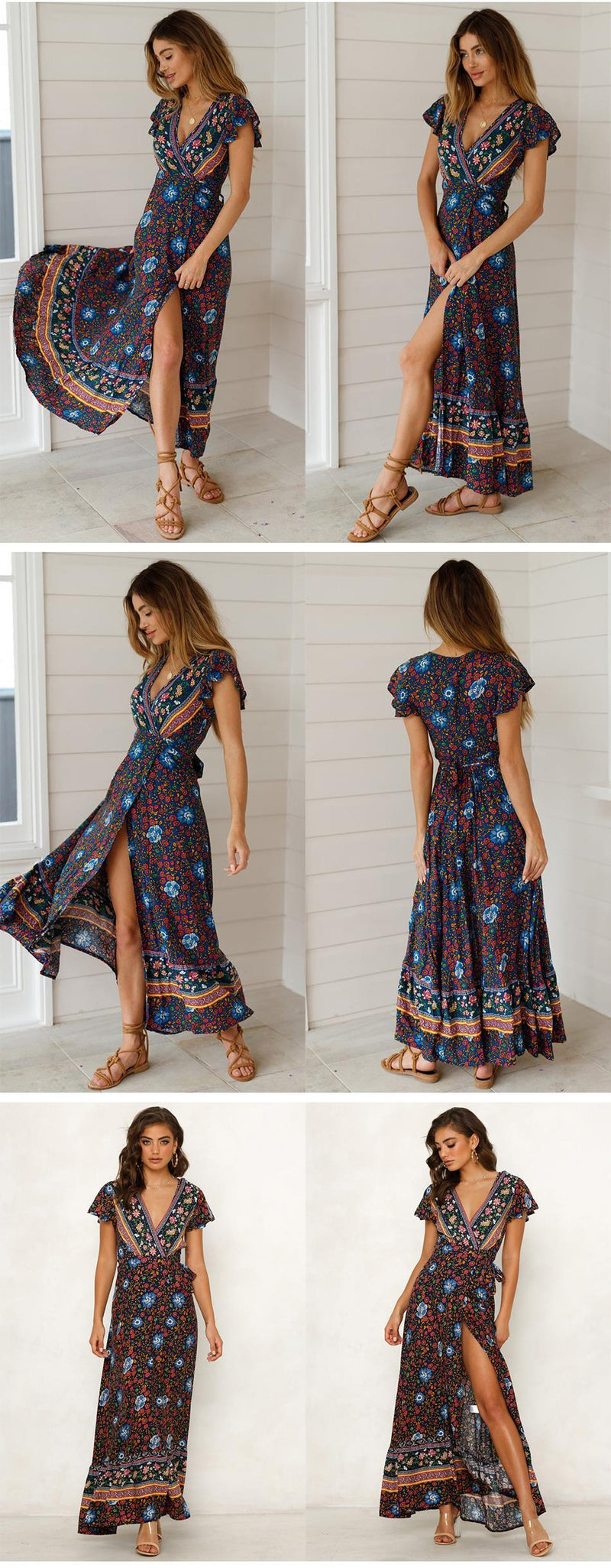 Buy Cheap Lossky Women Summer Boho Beach Dress Casual Holiday Sexy V-neck Floral Long Dresses  Beach Clothes For Women Black Sundress Online - SunLify