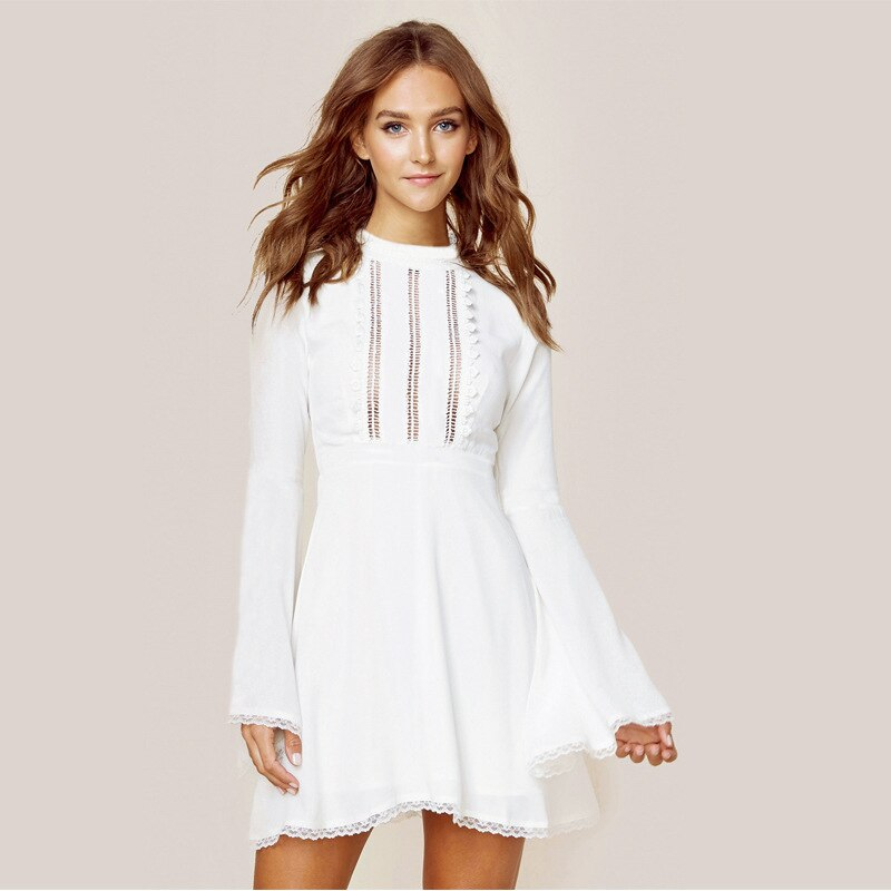 Elegant hollow out lace dress women Half sleeve short casual dress - SunLify