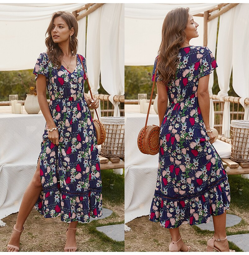 Women Midi Dress Summer Casual Flower Print Side Slit Red Long Sundresses Ladies Yellow Fitted Clothing Everyday  Fashion - SunLify
