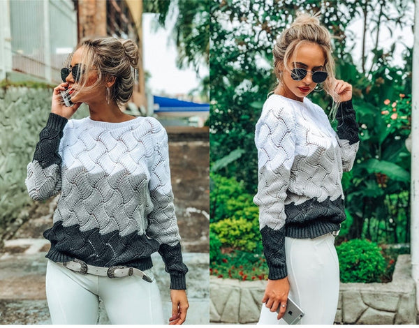 Buy Cheap Lossky Autumn Winter Warm Sweaters Ladies Black Pullover Women Long Sleeve Patchwork Loose Tops Openwork Clothing  Leisure Online - SunLify