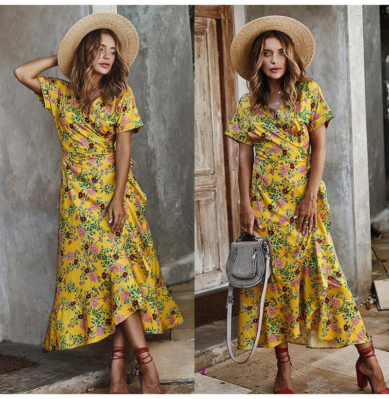 Buy Cheap Long Dress Summer Women Casual Floral Ruffle Dresses Lace-Up Cardigan New Arrival  Flower Fitted Midi Clothes Red For Women Online - SunLify