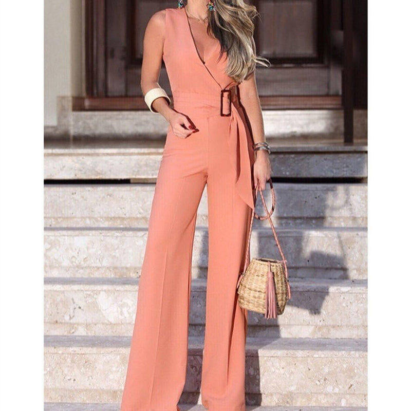 V-neck Wide Leg Jumpsuits Women 2019 Summer Sleeveless Rompers - SunLify