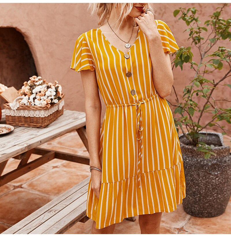 Dress Women Summer Striped Ruffle Mini Dresses Button Casual Fitted Womens Clothing Pink Soft Girl  Trendy Yellow Clothes - SunLify