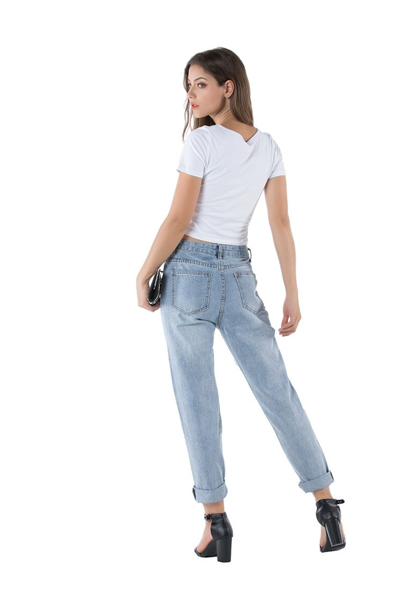 Women Sexy fashion Denim Loose Trousers High Waist mom jeans Destroyed Knee Holes Pencil Pants Stretch Ripped boyfriend jeans - SunLify