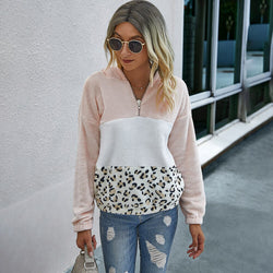 Buy Cheap Autumn Winter Sweatshirt Fashion Pink Stitching Leopard Print Patchwork Zip Up Tops Pullover Pastel Clothes For Women  Fall Online - SunLify