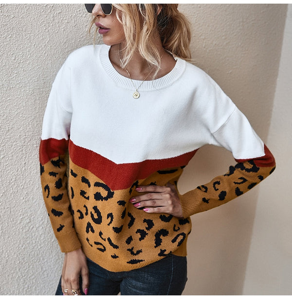 Buy Cheap Sweater Women Leopard Patchwork Autumn Winter Ladies Long Sleeve Jumper Pullover Sweaters Top Brown Fashion Womens Clothing Online - SunLify
