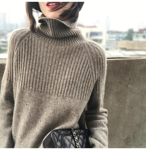 Buy Cheap Woman Sweater Black Turtleneck Autumn Winter Knitted Long Sleeve Basic Sweater Plus Size Fashion Oversized Pullover Clothes Online - SunLify