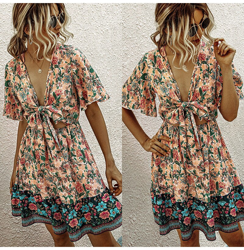 Buy Cheap Summer Dress Pink Women Casual Flower Print A-line Mini Sundresses Ladies Fitted Bow-Knot Floral Beach Wear  Womens Clothing Online - SunLify