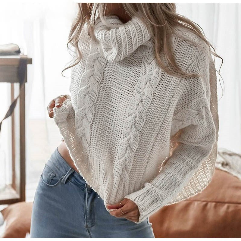 Harajuku Turtleneck Crop Sweater Autumn Winter Knitted Jumper - SunLify