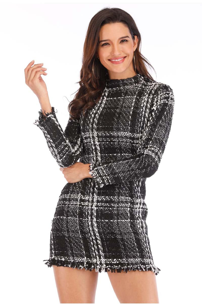 Lossky Sweater Dress Women Autumn Winter Plaid Long Sleeve Short Mini  Ladies Thick Warm Clothes Dresses Vestido Elegant - SunLify