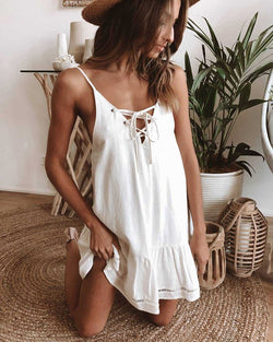 Buy Cheap Summer Sexy Deep V-neck Dress Women Sleeveless Sling Elegant Bow Pure Dresses  Beach Clothes For Women White Online - SunLify