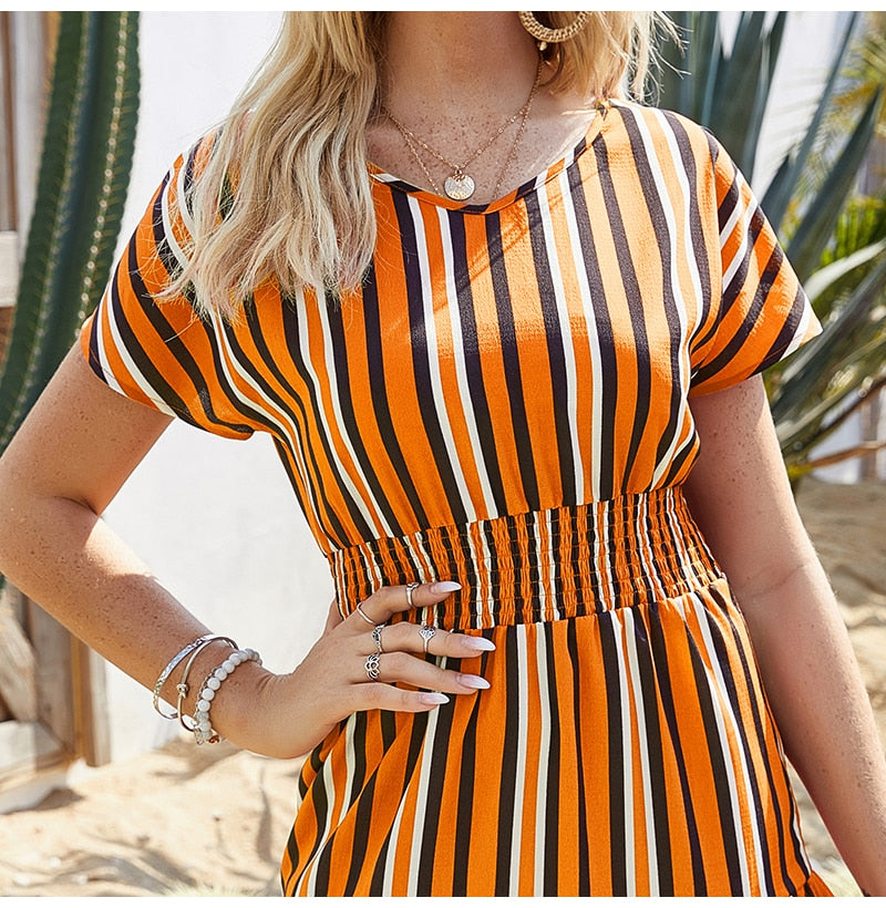Buy Cheap Womens Dresses Summer Casual Stitching Striped Ruffle Sundress Ladies Waisted Fitted Clothing  Trendy Red Dresses For Women Online - SunLify