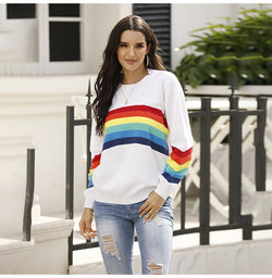 Sweater Women Autumn Winter Long Sleeve Rainbow Striped Top White Knitted Pullover Sweaters  Fashion Womans Clothes Knitwear - SunLify