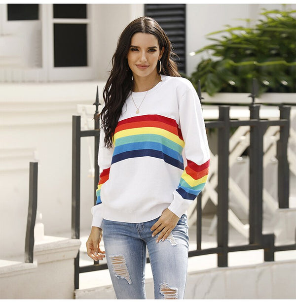 Buy Cheap Sweater Women Autumn Winter Long Sleeve Rainbow Striped Top White Knitted Pullover Sweaters  Fashion Womans Clothes Knitwear Online - SunLify