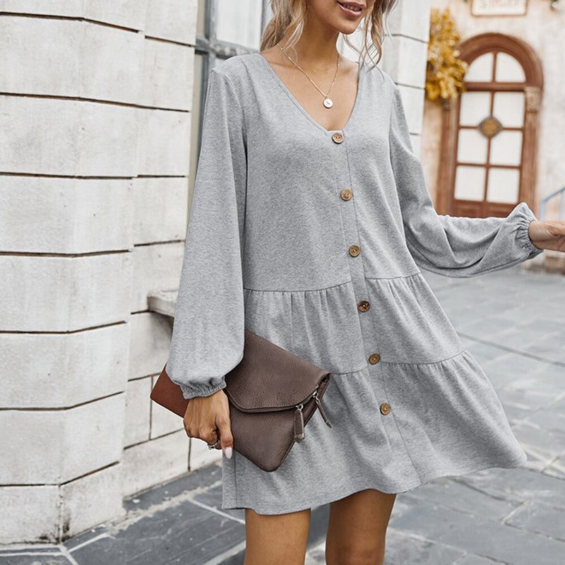 Buy Cheap Dress Autumn Winter Casual Ruched Solid Color Long Sleeve Button Up Loose Dresses Fashion New Arrival Fall  Women Clothing Online - SunLify