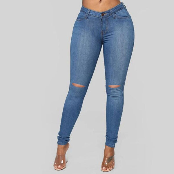 High Waist push up denim jeans Women Casual calca jeans ladies  Sexy Ripped Hole elastic skinny jeans vintage boyfriend jeans - SunLify