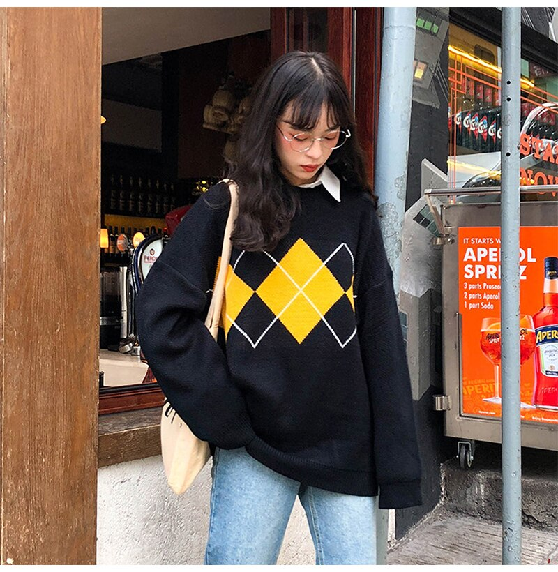 Buy Cheap Women Sweater Autumn Winter Long Sleeve Top Korean Fashion Preppy Style Black Knitted Argyle Pullover Sweaters  Fall Clothes Online - SunLify