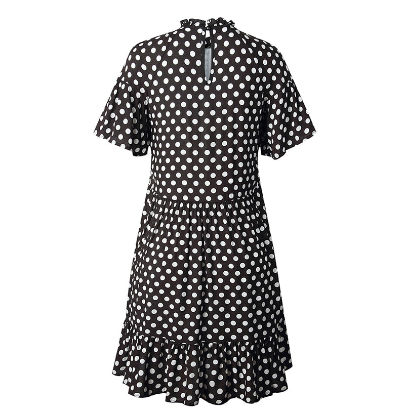 Buy Cheap Summer Black Dresses Casual Polka Dot Print Elegant Ruffle A Line White Clothes Dress Women New Arrival  Outfits For Women Online - SunLify
