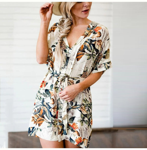 Buy Cheap Casual Summer Dress Women Button Elegant Print Short Mini Dresses Beach New Arrival  White Fashion Clothes Sundress Trendyol Online - SunLify