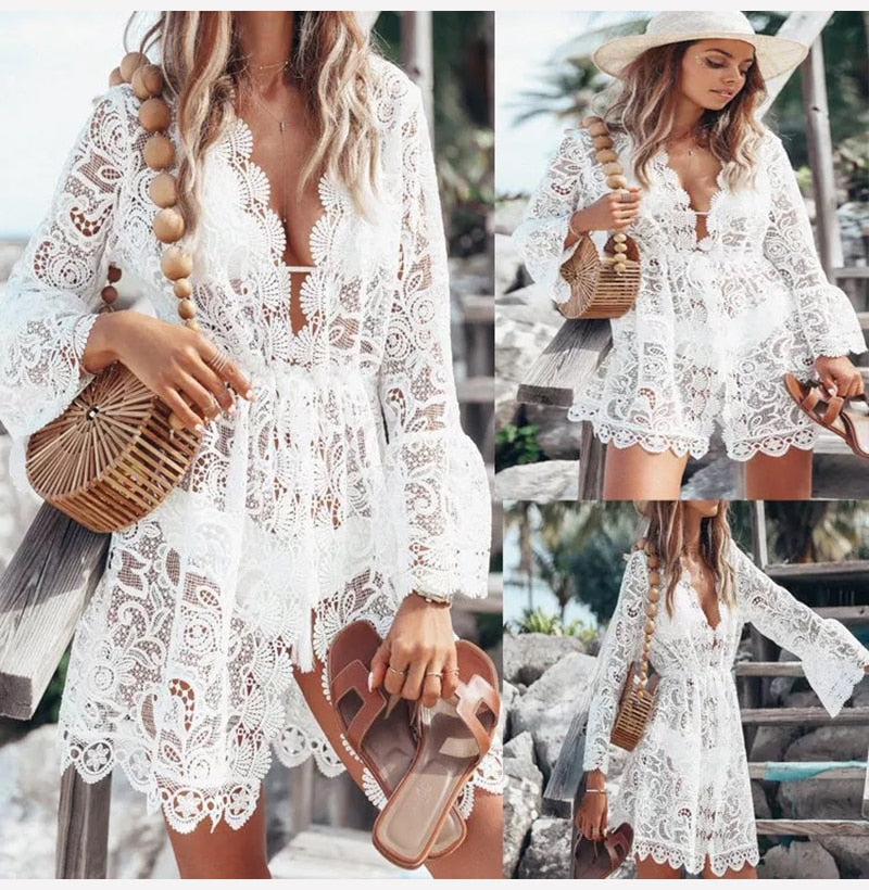 Buy Cheap Women Dress Whtie Lace Sexy See Through Casual Mini Short Sundress Summer Beach  Ladies Clothes Womens Clothing Lace Dresses Online - SunLify