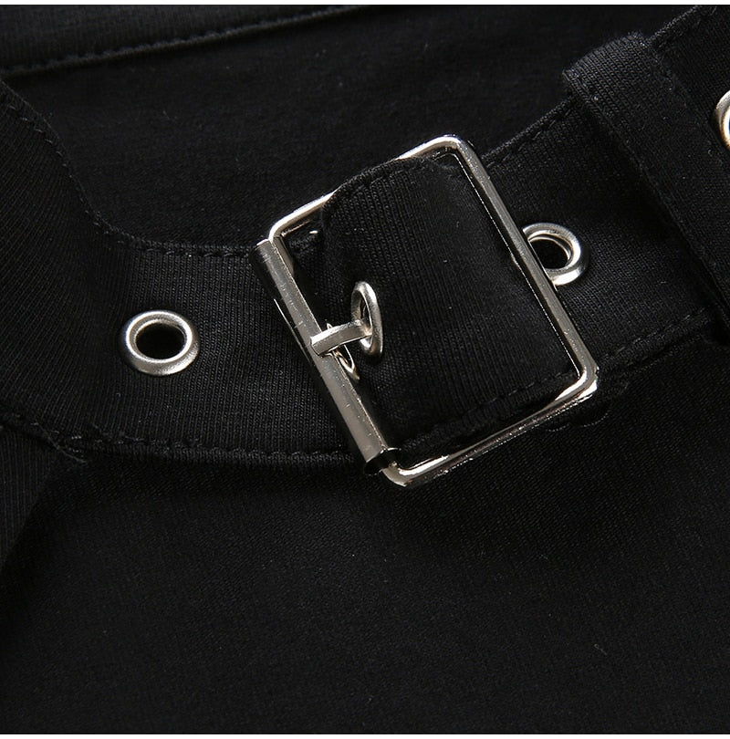 Lossky Sexy Cropped Tops Women Vogue Choker Collar Metal Buckle Short T-shirt Summer Vegan Clothes Black Gothic Streetwear - SunLify