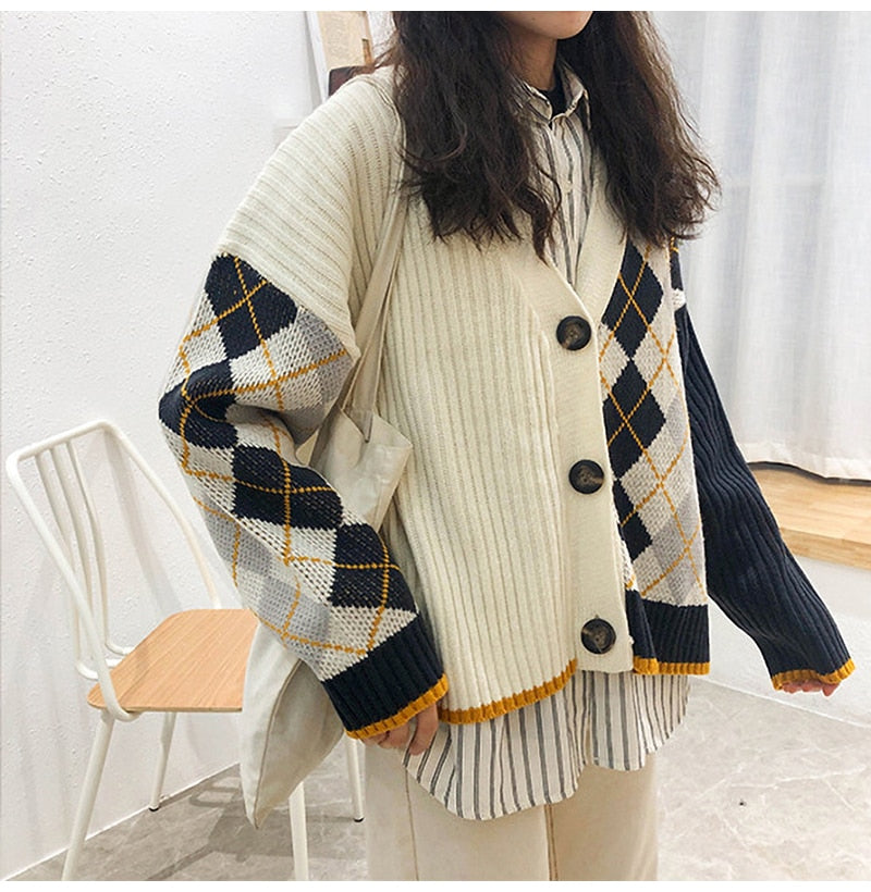 Buy Cheap Cardigan Tops Women Autumn Winter Knitted Long Sleeve Clothes Button Up Plaid Argyle Sweater  Korean Fashion Preppy Style Online - SunLify