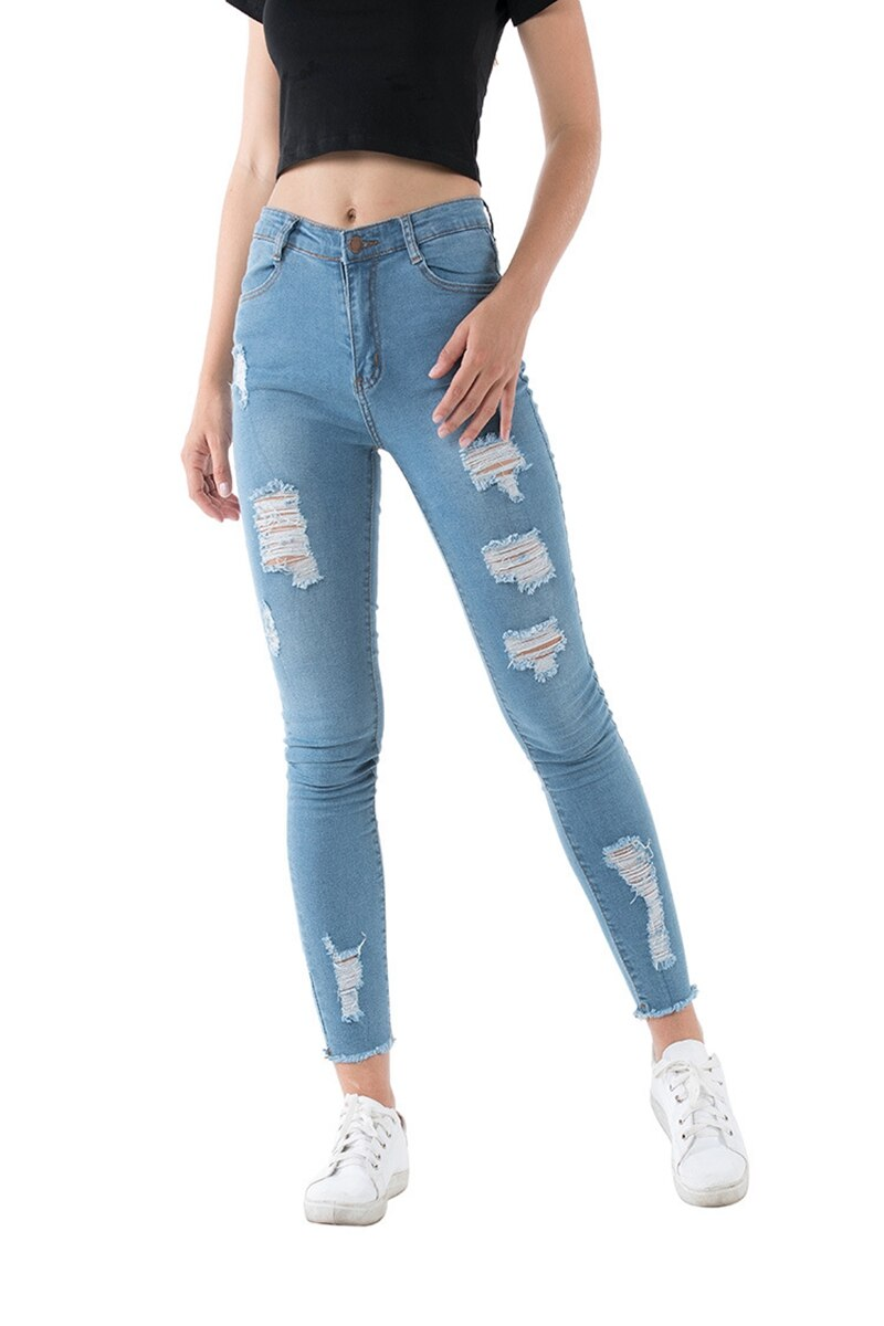 Buy Cheap summer Fashion Sexy Ripped Hole Women  Denim Skinny Pants High Waist Stretch Jeans vintage Slim Pencil Jeans Ladies Casual Jeans Online - SunLify
