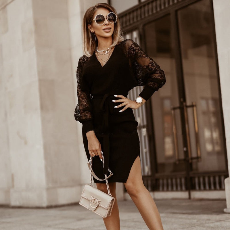 Knitted Dress Autumn Winter Fashion Elegant Ladies Black Long Sleeve Lace Side Slit Dresses For Women Clothes New Arrival - SunLify