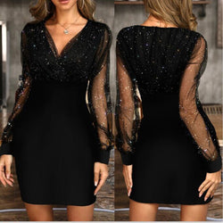 Buy Cheap Autumn Dress Fashion Black Elegant Ladies Mesh Sequin Glitter Dresses For Women Party Night Club Clothes New Arrival  Fall Online - SunLify