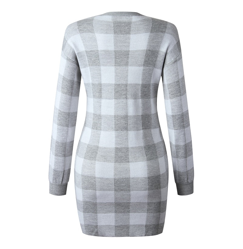 Sweater Dress Women Autumn Winter Elegant Office Plaid Long Sleeve Knit Clothes Slim Fit Black Ladies Dresses New Arrival - SunLify