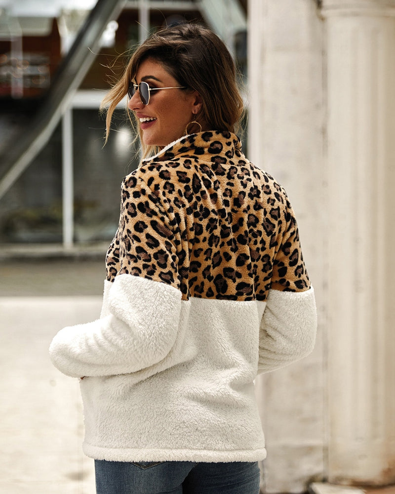 Buy Cheap Lossky Winter Sweatshirt Leopard Patchwork Women Long Sleeve Pockets Ladies Plush Tops Zipper Pullover Warm Clothing Female Online - SunLify