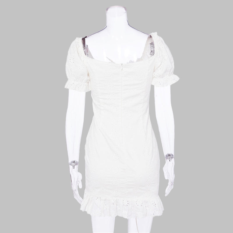 Women Dress Sexy Summer White Short Sleeve Drawstring Ruched Ruffle Slim Dresses Backless Puff Sleeve Mini Short Clothes - SunLify