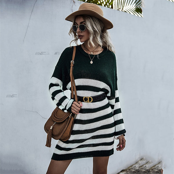 Sweater Dress Women Autumn Winter Casual Patchwork Striped Long Sleeve Knitted Womens Clothes Loose Fitted Dresses  Fashion - SunLify