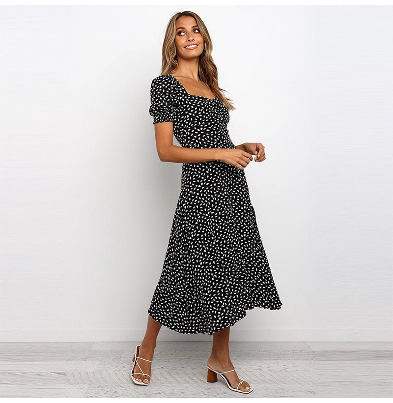 White Long Dress Chiffon Women Summer Floral Puff Sleeve Midi Womens Dresses Elegant Ladies Black Front Split Clothing  Red - SunLify