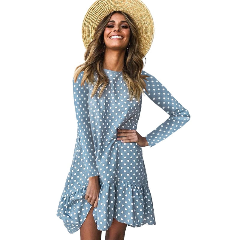 Lossky Women Spring Dress Fashion Polka Dot Print Ladies Casual Clothing Long Sleeve Mini Short Loose Yellow Dresses  Autumn - SunLify