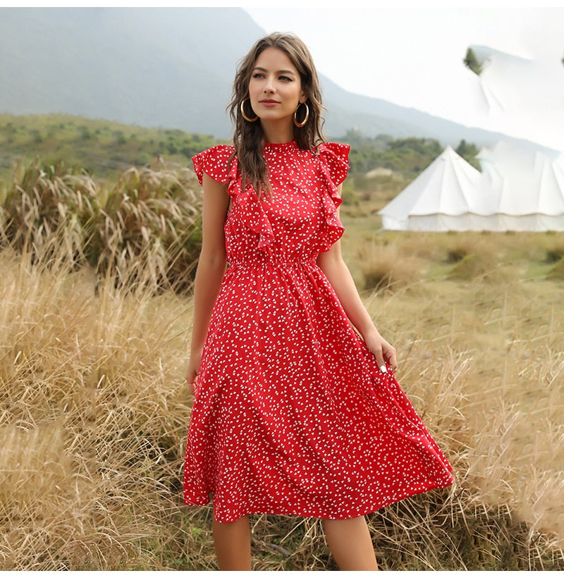 Chiffon Dress Women Elegant Summer Floral Ruffle Stitching Tank Sundress Knees Casual Fitted Clothing  Red Dresses For Women - SunLify