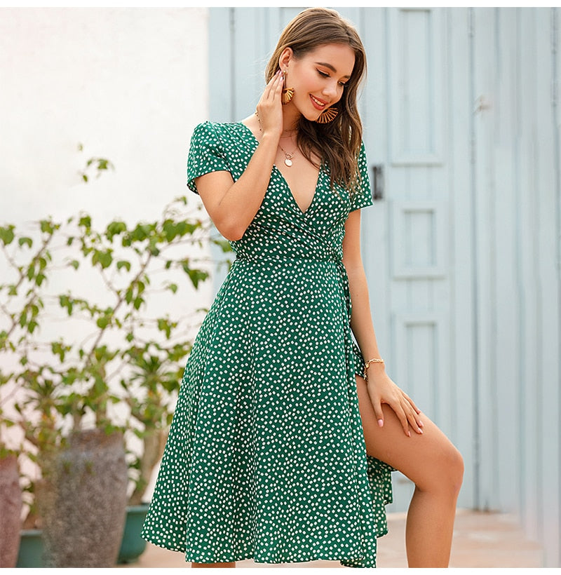 Buy Cheap Women White Long Dress Summer Casual Dots Floral Womens Dresses Red Chiffon Midi Ladies Korean Fashion Clothing  Vacation Online - SunLify