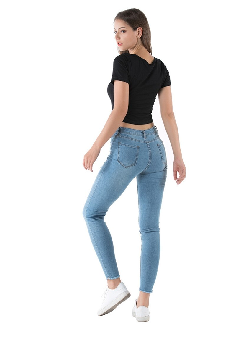 summer Fashion Sexy Ripped Hole Women  Denim Skinny Pants High Waist Stretch Jeans vintage Slim Pencil Jeans Ladies Casual Jeans - SunLify