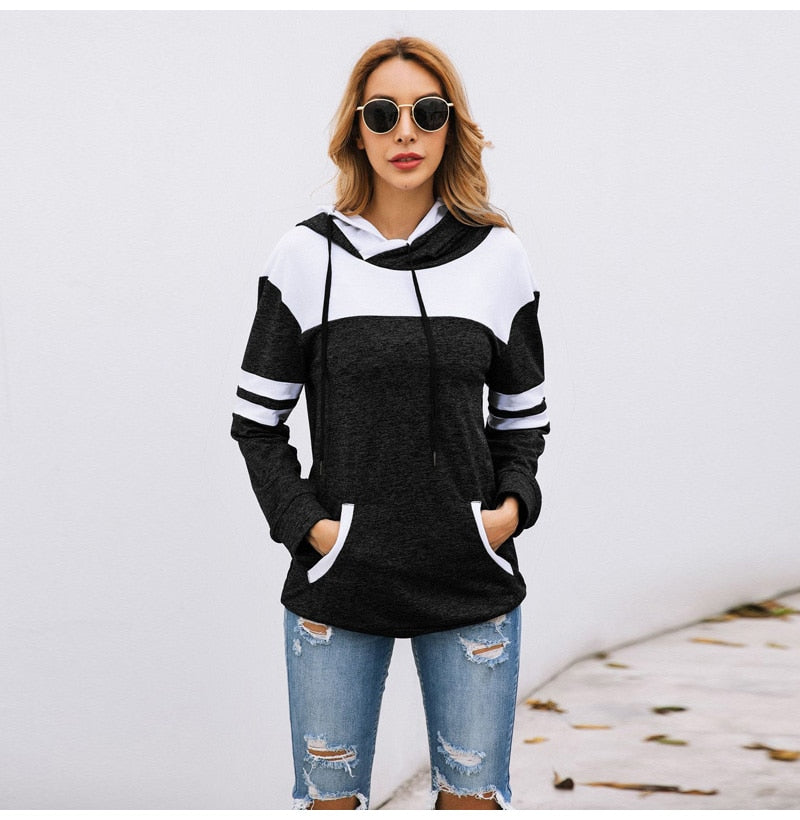 Lossky Hoodies Sweatshirt Women Autumn Long Sleeve Pullover Sweatshirts Top Female Clothing  Patchwork Sportswear - SunLify