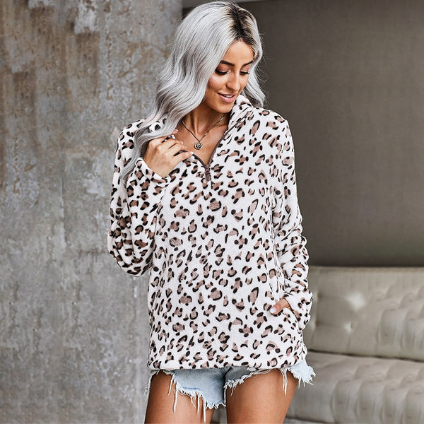 Sweatshirt Women Autumn Winter Plush Pastel Tops Leopard Print Long Sleeve Zip Up Pullover Sweatshirts Fall  Women Clothing - SunLify