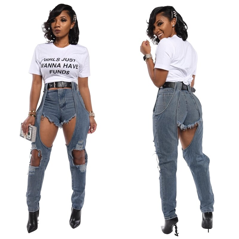 Buy Cheap Women Fashion Patchwork High waisted Big Hole Ripped Boyfriend Jeans Casual Street Denim Pants Sexy Vintage Pencil Calca Jeans Online - SunLify