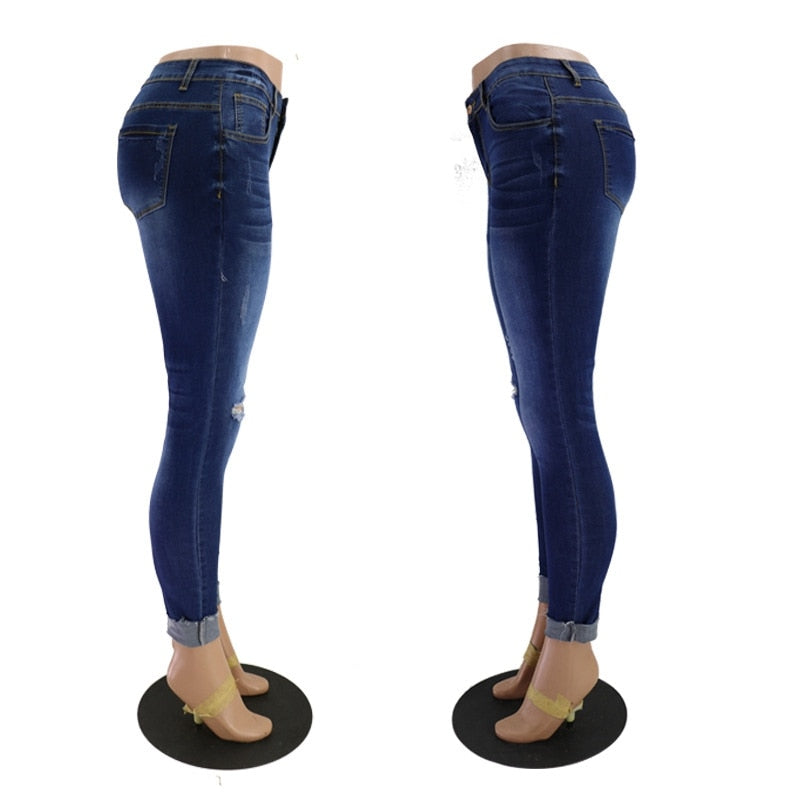 Buy Cheap Women Denim Skinny Trousers Low Waist Jeans Destroyed Knee Holes Pencil Pants Trousers Stretch Ripped Boyfriend Mom Jeans Online - SunLify